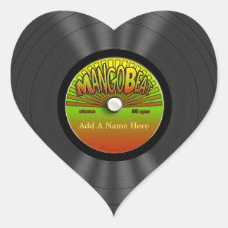 Disco de vinilo personalizado del reggae del pegatina en forma de corazón