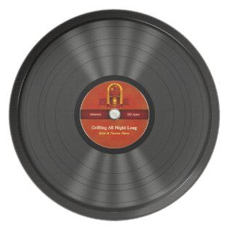 Disco de vinilo personalizado del rollo de la roca plato de comida