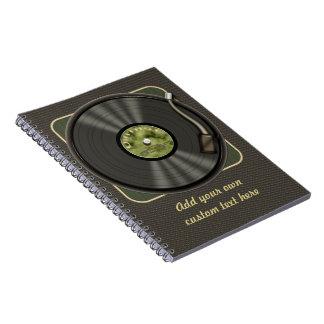 Disco de vinilo personalizado del vintage cuaderno