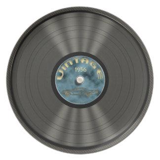 Disco de vinilo personalizado del vintage plato de cena
