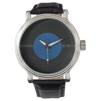 Disco de vinilo retro del vintage (azul) reloj