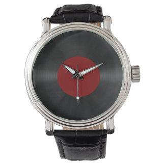 Disco de vinilo retro del vintage (Red) Relojes De Mano