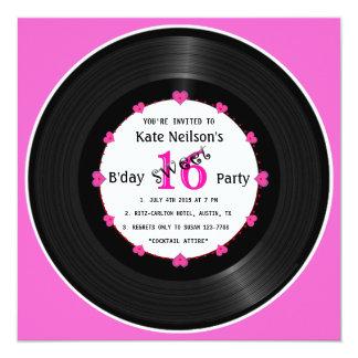 """Disco de vinilo retro l dulce moderno 16 B'day Invitación 5.25"""" X 5.25"""""""
