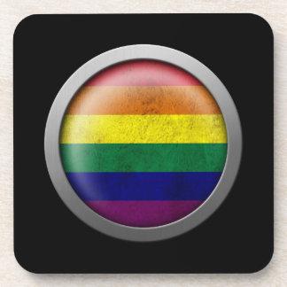Disco del orgullo gay de la bandera del arco iris posavaso