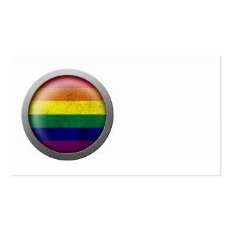 Disco del orgullo gay de la bandera del arco iris tarjetas de visita
