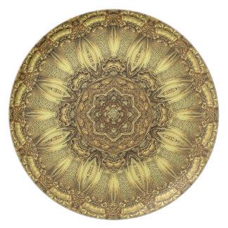Disco del oro de los géminis plato para fiesta