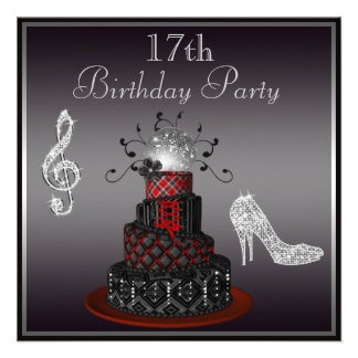 Disco Diva Cake, Silver Heels 17th Birthday Custom Invites