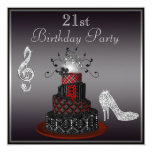 Disco Diva Cake, Silver Heels 21st Birthday Invitation