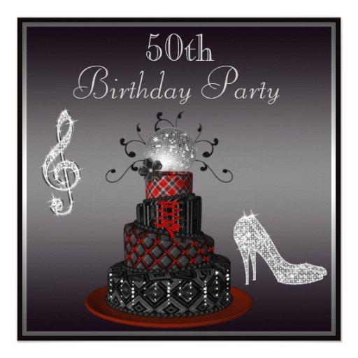 Disco Diva Cake, Silver Heels 50th Birthday Invites from Zazzle.com