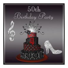 Disco Diva Cake, Silver Heels 50th Birthday 5.25x5.25 Square Paper Invitation Card
