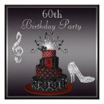 Disco Diva Cake, Silver Heels 60th Birthday Custom Invites