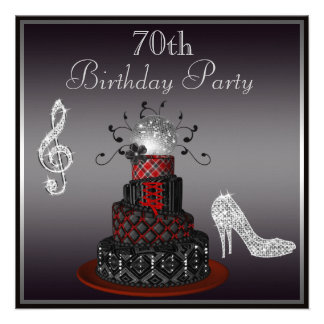 Disco Diva Cake Silver Heels 70th Birthday Personalized Announcements