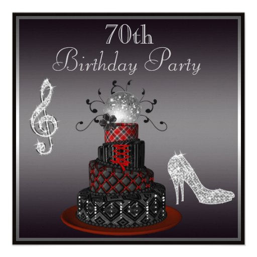 Disco Diva Cake, Silver Heels 70th Birthday Personalized Announcements