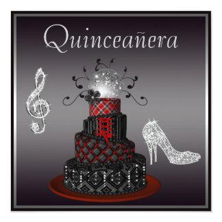 Disco Diva Cake, Silver Sparkle Heels Quinceanera Invitation