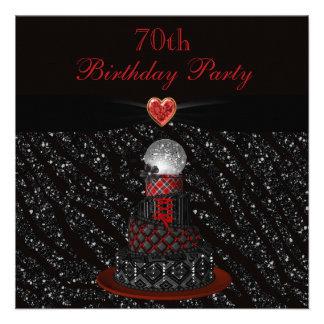 Disco Diva Cake Zebra Glitter Print 70th Birthday Custom Announcement