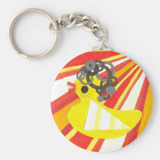 Disco Ducky with Background Keyring Keychain