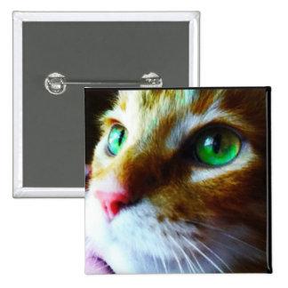 Disco Eyes Cute Cat Square Button