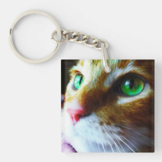 Disco Eyes Cute Cat Square Keychain