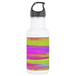 DISCO FEVER Bright Bold Neon Green Pink 70s Retro 18oz Water Bottle
