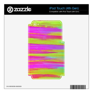 DISCO FEVER Bright Bold Neon Green Pink 70s Retro Skins For iPod Touch 4G