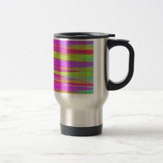 DISCO FEVER Bright Bold Neon Green Pink 70s Retro Travel Mug