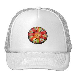 Disco fresco del sushi (añada el color de fondo) gorra
