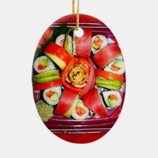 Disco fresco del sushi ornamentos de reyes