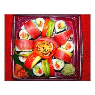 Disco fresco del sushi tarjetón