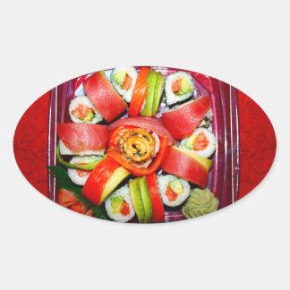 Disco fresco del sushi pegatina de ovaladas