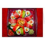 Disco fresco del sushi tarjeton