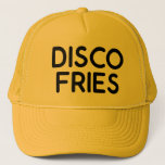 """DISCO FRIES fun slogan trucker hat<br><div class=""""desc"""">DISCO FRIES fun and bold slogan on trucker hat,  black,  ironic typography,  funny statement,  inspired by tv character frank rossitano. fries all the way,  disco dancing.</div>"""