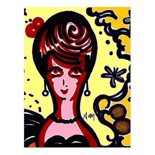 Disco Geisha Pink Doll Postcard