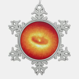 Disco gigante de los combustibles fríos del gas y adorno de peltre en forma de copo de nieve