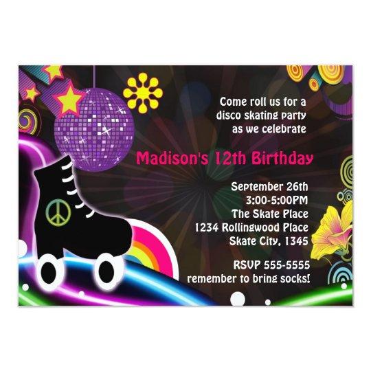 Disco party invitations announcements zazzle disco glow roller skating skate party invitation stopboris Choice Image