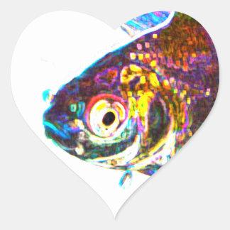 Disco Goldfish Heart Sticker
