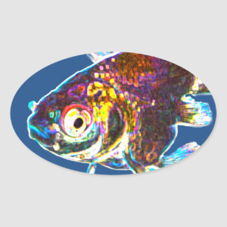 Disco Goldfish Oval Sticker