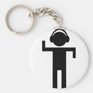 disco head phone type icon basic round button keychain