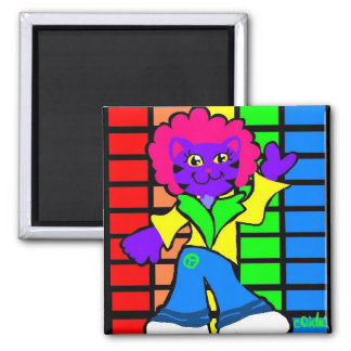 Disco Kitty 2 Inch Square Magnet