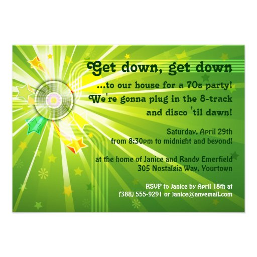 Disco lights 70s party 45x625 paper invitation card zazzle for 70 s wedding invitations