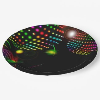 Disco lights birthday plate