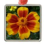 Disco Marigold Orange and Red Flower Metal Ornament