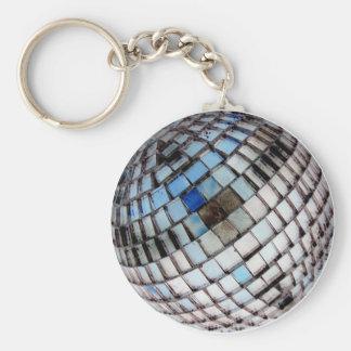 Disco Metal Mirror Ball Basic Round Button Keychain