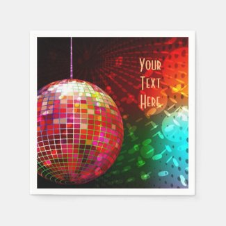Disco Night 70's Retro Disco Ball Napkins