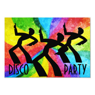 Disco Party - Dancing People and Rainbow Swirls Personalized Invites