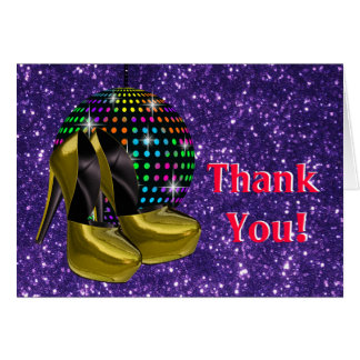 Disco Party Mirror Ball Thank You Cards