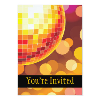 Disco Party Time Golden Lights 5x7 Paper Invitation Card