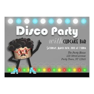 "Disco Party with Cupcake Bar custom Invitations 5"" X 7"" Invitation Card"