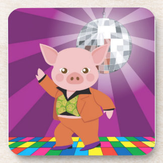 Disco pig on the dance floor drink coaster