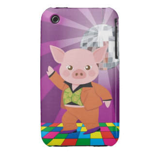 Disco pig on the dance floor iPhone 3 Case-Mate cases