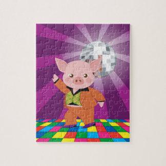 Disco pig on the dance floor jigsaw puzzle